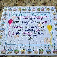 diy birthday cards for boyfriend | Puzzle birthday card my boyfriend made for me, so adorable it had to ...