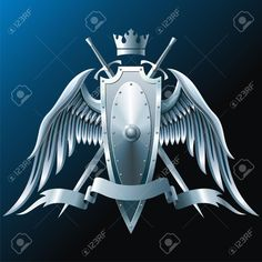 9396786-composition-with-crown-swords-wings-badge-and-ribbon.jpg (1300×1300)