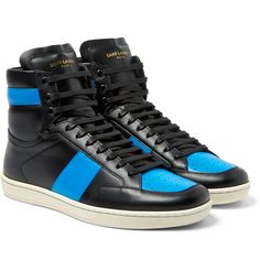 <a href='http://www.mrporter.com/mens/Designers/Saint_Laurent'>Saint Laurent</a> combines refined craftsmanship and streetwear cool with these standout high-top sneakers. Meticulously made in Italy from supple blue and black leather, this pair will seriously step up your footwear offering. Set them off against jet-black denim.