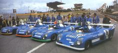 1974 .. Le Mans , entered by Equipe Gitanes , Matra MS670 , No.6 Matra 680 Jarier / Beltoise-DNF ..  No.7 Matra 670C Pescarolo / Larrousse - Winner .. No.8 Matra 670B  Jaussaud / Wollek / Dolhem-DNF .. No.9 Matra 670C  Jabouille / Migault 3rd o/a .