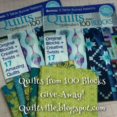 Give-Away on the blog today!  I am giving away two copies of the fall 2015 issue of Quilts from 100 Blocks by Quiltmaker Magazine along with a 5-pack of gorgeous fat quarters! Come leave a comment on the blog post to be entered to win! http://quiltville.blogspot.com/2015/08/quilts-from-100-bocksgive-away.html #quilt #quilting #patchwork #quiltville #bonniekhunter #giveaway @quiltmakermag