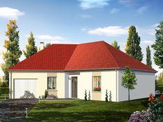 Modèle BORA  Pavillon plain-pied avec garage comprenant cuisine ouverte sur le séjour, hall, salle de bains, WC, 3 chambres et cellier.   Surface habitable : 88,14m².