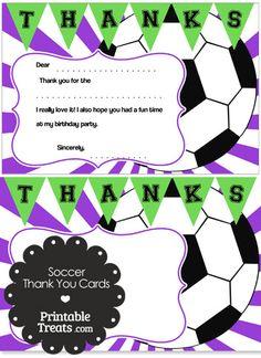 Purple Sunburst Soccer Thank You Cards from PrintableTreats.com