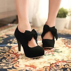 #black #shoes #heels #pretty #bow