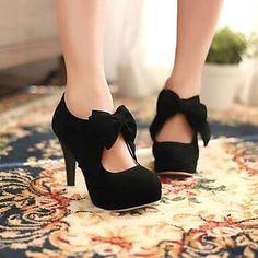 #black #shoes #heels #pretty #bow