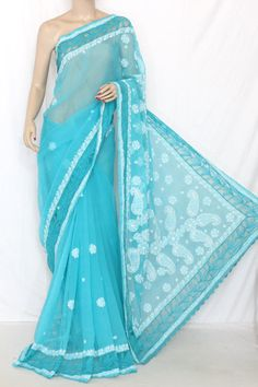 Blue Designer Hand Embroidered Lucknowi Chikankari Saree (With Blouse - Georgette Saree with Net Border) 14303