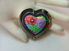 Great Valentine gift!!  Handcrafted Heart Shaped Colorful by PolymerClayCreations on Etsy