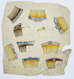 Gustav Gaudernack. Sketches of ten haircombs in bone with various silver and enamel decorations. Watercolor. ca 1910