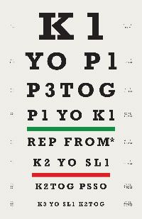 "Cute knitting-themed ""eye chart"" poster form #iliveonafarm"