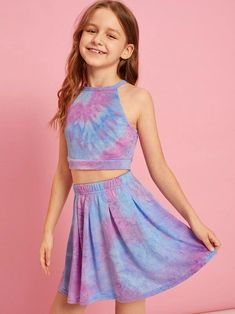 Girls Tie Dye Halter Top And Pleated Skater Skirt Set – Kidenhouse Dresses Kids Girl, Kids Outfits Girls, Cute Girl Outfits, Girls Fashion Clothes, Tween Fashion, Cute Outfits For Kids, Cute Summer Outfits, Girl Fashion, Fashion Outfits