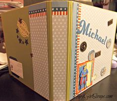 CTMH Kraft 3 ring binder book front and back cover decorated for Military Gift.