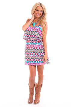 Lime Lush Boutique - Purple and Aqua Geometric Print Dress or Top , $46.99 (http://www.limelush.com/purple-and-aqua-geometric-print-dress-or-top/)