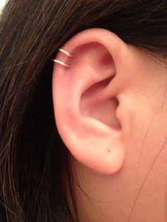 Double loop Ear cuff, sterling silver or 14K gold filled. 18 ga or 20 ga. Cartilage. Fake piercing. No pierced ear cuff.