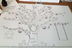 Treehouse illustration, black & white print