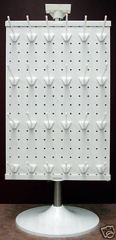 2 Sided White or Black Counter Top Peg Board Spinner Rack Display with Hooks . 2 Sided White or Black Counter Top Peg Board Spinner Rack Display with Hooks Craft Fair Displays, Craft Show Booths, Vendor Displays, Market Displays, Craft Show Ideas, Bracelet Displays For Craft Shows, Craft Show Table, Craft Fair Ideas To Sell, Craft Stall Display