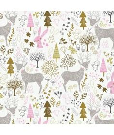 Deer Woodland Nursery Cotton Fabric Hello, My Deer Camelot Fabrics, Fawn  Bunnies Trees Rabbit Bunny By the Yard Baby Girl. L Atelier ... 31761fe4339a