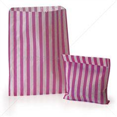 Papiertüten pink-weiß gestreift