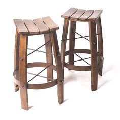 Rustic Bar Stools made of new oak staves. It is amazing stroke for your home or bar interior. Barrel Table, Crate And Barrel, Barrel Furniture, Rustic Furniture, Rustic Bar Stools, Bar Interior, Wine Cabinets, Rustic Decor, Wicker