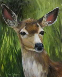 Animal Painting 16x20 Canvas Dorothy the Deer  by ChatterBoxArt