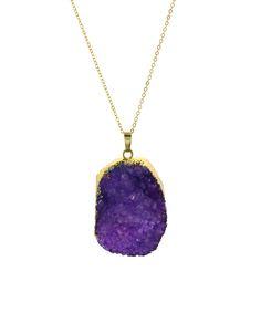 Fleur Envy Purple Druzy Agate & Gold Stone Pendant Necklace | zulily