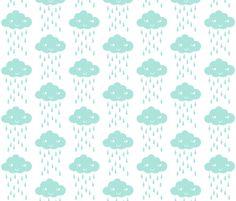 rain cloud mint fabric by charlottewinter on Spoonflower - custom fabric