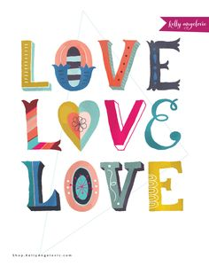 This inspirational greeting card features the hand lettered phrase Love Love Love. I created this collection for the goddess in YOU. As I follow the whispers of my heart, my dream is to inspire you to do the same. Printed on 100% recycled paper.