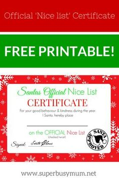 Christmas morning letter from santa about family printables christmas nice list certificate free printable spiritdancerdesigns Image collections
