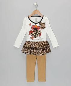 Look what I found on #zulily! Tan Cheetah Elmo Tunic & Leggings - Toddler #zulilyfinds