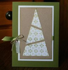 Handmade Christmas card, using a segmented cone of rubber stamped or patterned paper as a tree. Homemade Christmas Cards, Christmas Tree Cards, Noel Christmas, Homemade Cards, Handmade Christmas, Holiday Cards, Simple Christmas, Minimal Christmas, Xmas Trees
