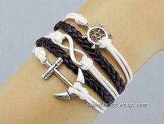 Infinity braceletrudder braceletanchor by charmjewelrybracelet, $10.99