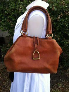 Leather Brown Ralph Lauren Purse Bag Designer Hobo Tote brass hardware latch #RalphLauren #Hobo