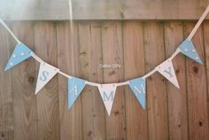 wooden bunting new baby gift baby blue by CalicoBespokeGifts