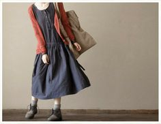 Dark Blue Women Loose Girl Cotton Short by clothingshow Modest Outfits, Boho Outfits, Pretty Outfits, Japanese Fashion, Korean Fashion, Japanese Style, Long Skirt Looks, Casual Dresses For Women, Clothes For Women