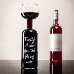 Wine Bottle Glass - Finally! A Wine Glass That Fits My Needs!/ funny_humorous_gifts.jpg