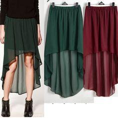Sexy Asym Hem Chiffon Skirt Ladies Long Maxi Dress Elastic Waist 3 COLORS O