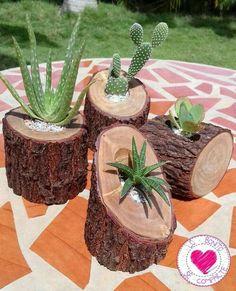 ¡Me encantan estas suculentas macetas de ramas! Diy Wooden Planters, Log Planter, Wooden Diy, Planter Ideas, Tree Planters, Design Jardin, Garden Design, Cacti And Succulents, Planting Succulents