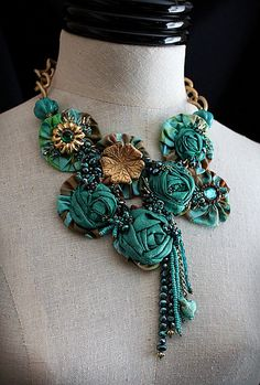 AQUAMARINE Textile Mixed Media Teal Turquoise by carlafoxdesign, $325.00