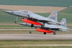 Two Tiger from Swiss Air Force takes off to a mission . Swiss Air, Old Planes, Airplane, Air Force, Fighter Jets, Pilot, Aircraft, Classic, Military