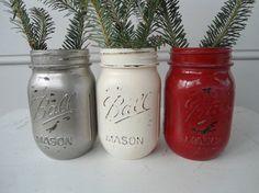 3 mason jars holiday centerpiece outdoor wedding by riricreations, $24.00