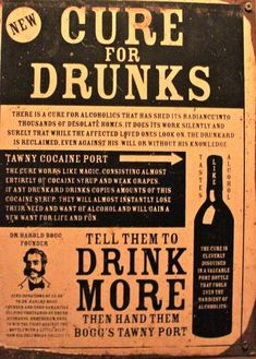 Retro (vintage) politically incorrect ads for curing drunkenness by drinking more alcohol. AA would certainly disapprove. Funny Vintage Ads, Vintage Humor, Retro Vintage, Old Poster, Poster Vintage, Pseudo Science, Party Quotes, Psy Art, Poster Design