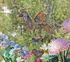 Dachshund Metal Garden Art Stake / Dog Pet Memorial / Copper Art / Yard Art / Angel Decoration / Pet Lovers Gift by GardenCopperArt on Etsy