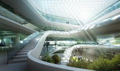 Futuristic building for the Green Climate Fund UN