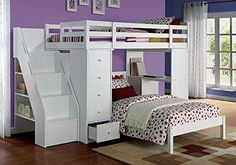 1PerfectChoiceFreya Youth Kids Twin Loft Bed Workstation Computer Drawer Chest Bottom Twin Bed - $1457.29