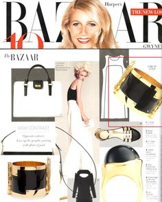 (March 2012) Harper's Bazaar:  Opposites attract! Luxe up black & white pairings with glints of gold like the CC Skye Enamel Hinge Cuff.