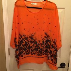 Bat wing sleeve sheer chiffon tunic. Cute top purchased of Amazon.  Sheer so cute layered with a tank or a long sleeve navy t.  Orange and navy. Tops Blouses