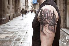 forest on arm,  tattoo by cisco (ltw studio)