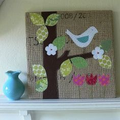 Learn how to make this lovely burlap canvas art for spring. The bird and flowers make this #craft a perfect warm weather decoration.