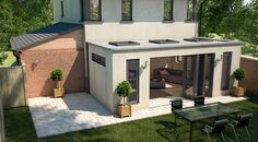 Orangery with flat roof sunken down behind full height walls, with almost flat roof flights Single Storey Extension, Roof Extension, Extension Ideas, Extension Google, Bungalow Extensions, House Extensions, Kitchen Extensions, Style At Home, Orangerie Extension