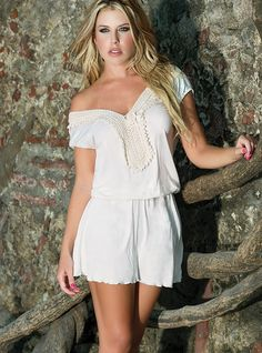 Make your life worth living, have a blast in everything you do, wear this delightful beach dress and have an unforgettable summer time! – by Doue Swimwear. FEATURES Crochet embroidery detail Elastic waistline cotton V neckline Relax fit Swimsuits 2014, Beachwear, Swimwear, Beach Dresses, Summer Time, Rompers, Dresses 2016, How To Wear, Cotton