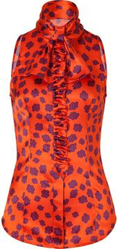 LWren Scott Orange/Royal Blue Pan-Zhang Printed Silk Top with Ruffle on shopstyle.com